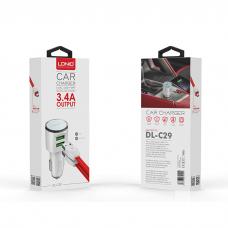 Auto punjač LDNIO DL-C29 dual USB 3.4A + iPhone Lightning kabl beli